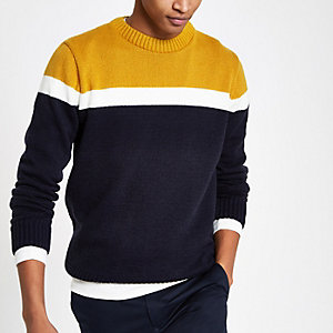Pull slim en maille douce jaune foncé colour block