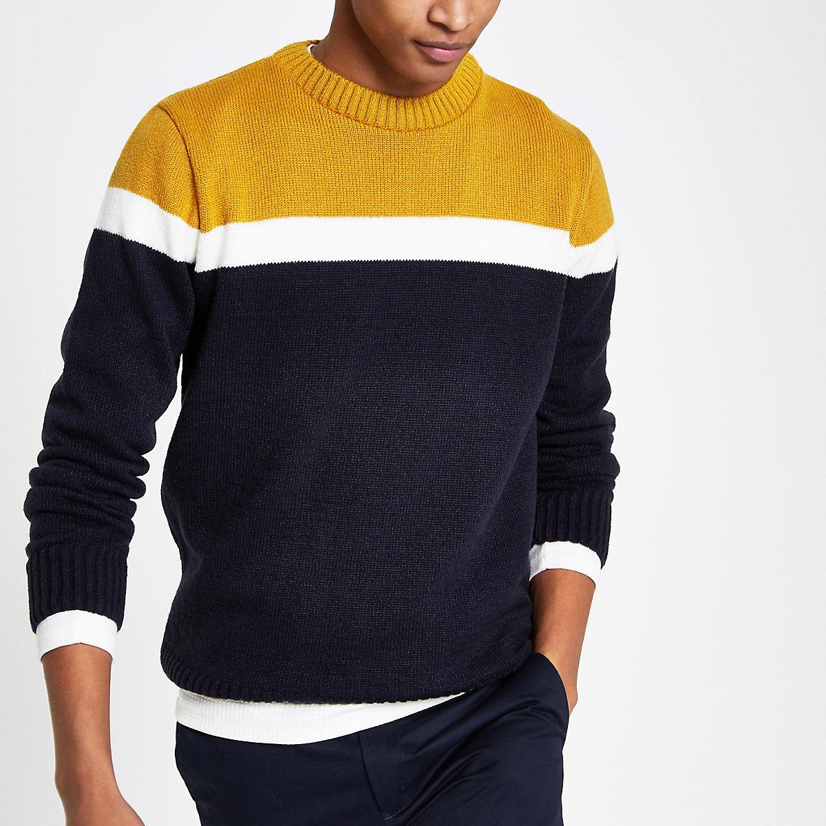 Dark yellow soft knit slim fit blocked sweater