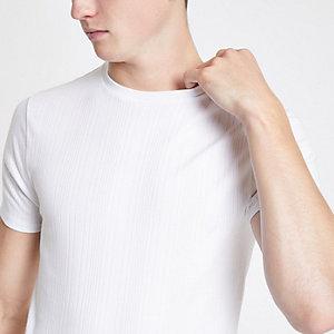 T-shirt ajusté côtelé blanc
