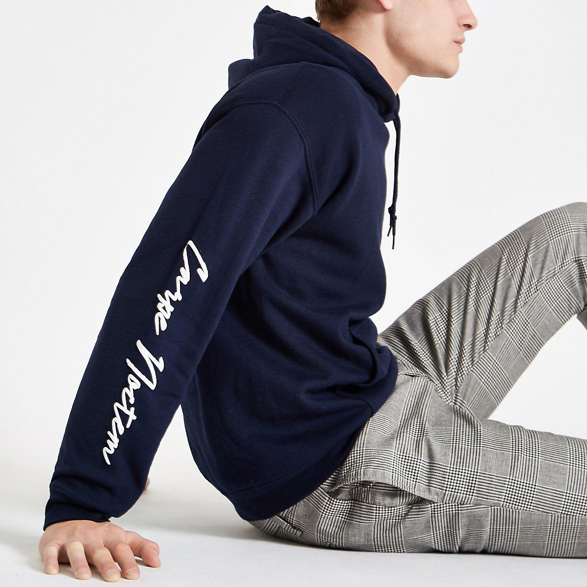 Navy slim fit 'carpe diem' hoodie