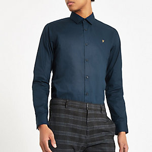 Farah – Marineblaues Button-Down-Hemd