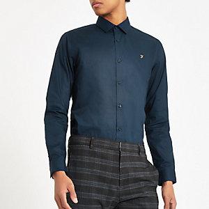 Farah - Marineblauw overhemd met knopen