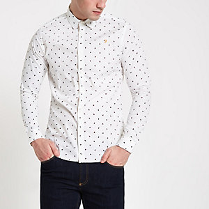 Farah white dot print long sleeve shirt