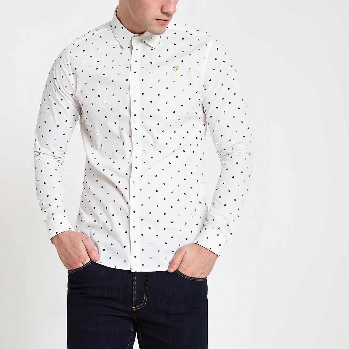 Farah white dot print long sleeve shirt