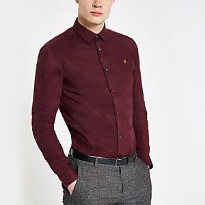 Farah - Bordeauxrood overhemd met knoopsluiting