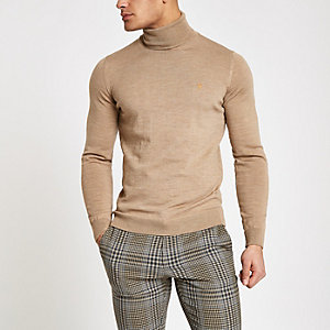 Farah light brown roll neck jumper