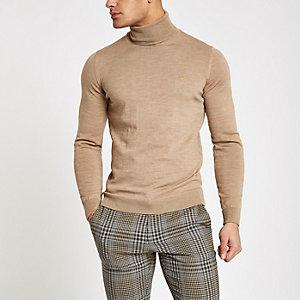 Farah light brown roll neck sweater