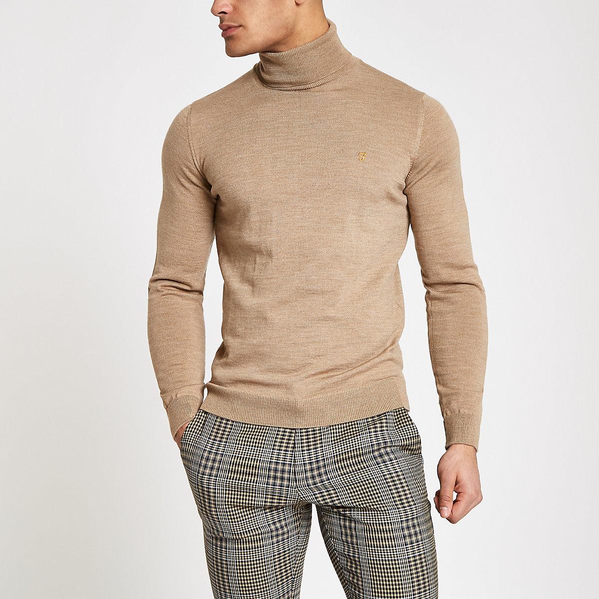 Farah light brown roll neck jumper