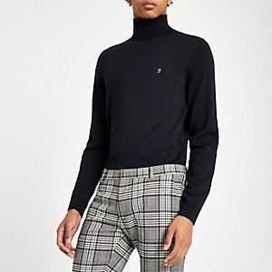 Farah navy roll neck sweater