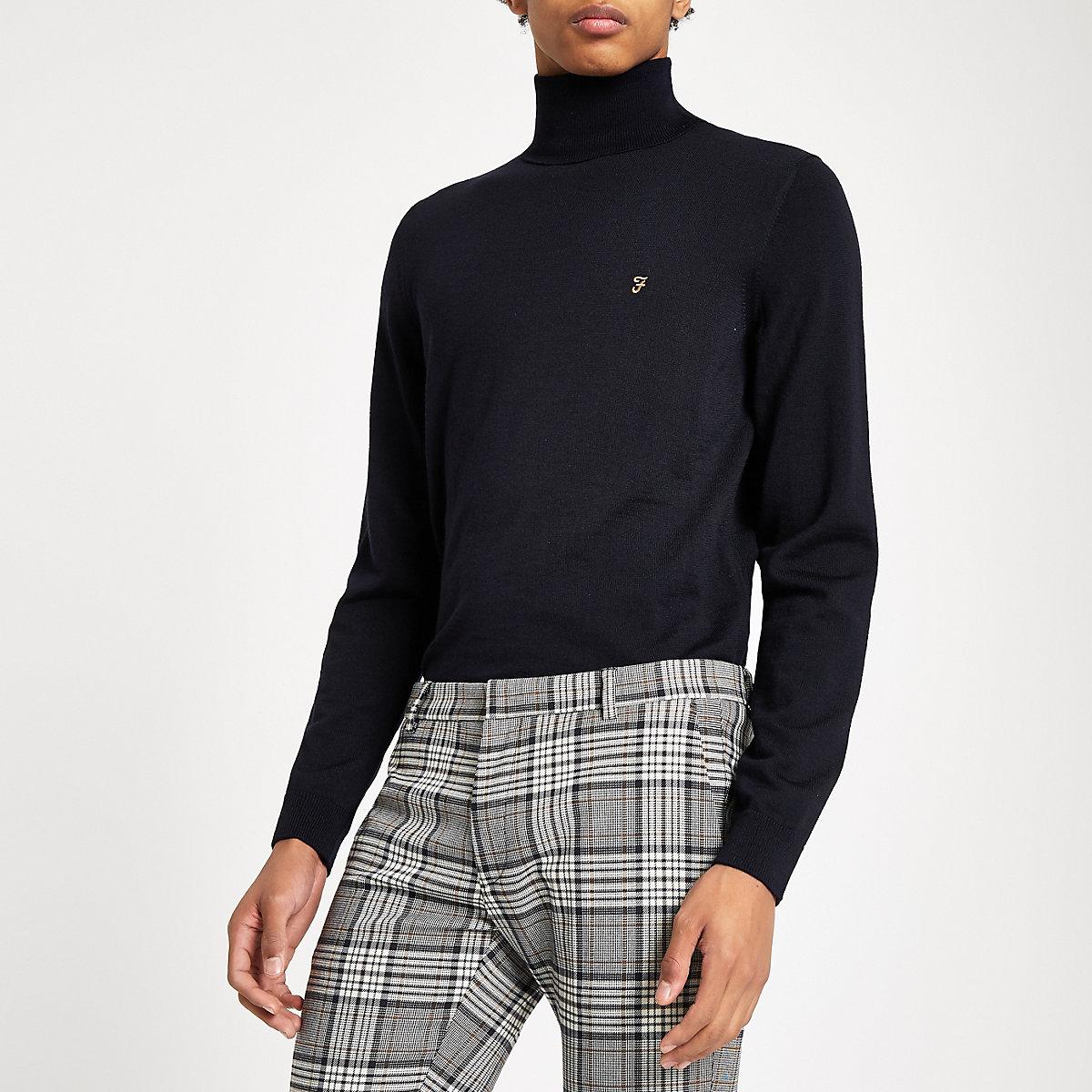 Farah navy roll neck sweater
