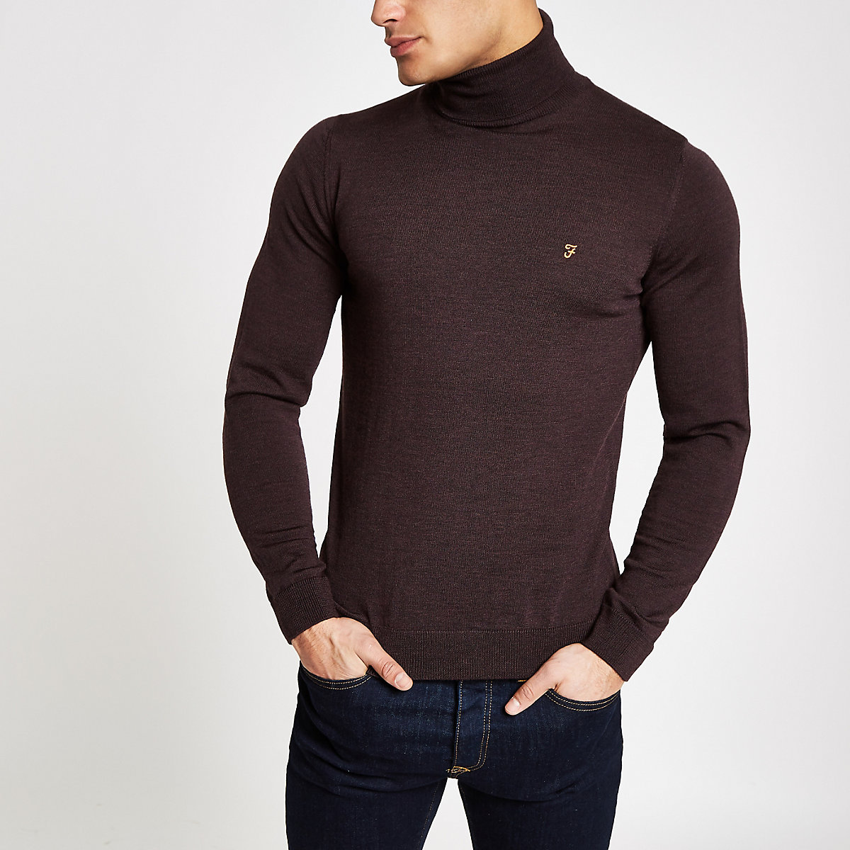 Farah dark red roll neck sweater