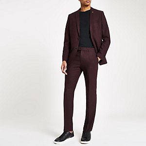 Farah burgundy skinny suit pants