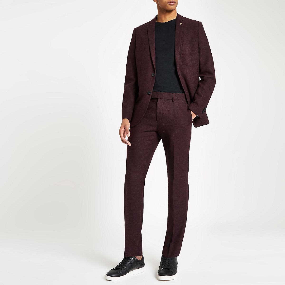 Farah burgundy skinny suit trousers