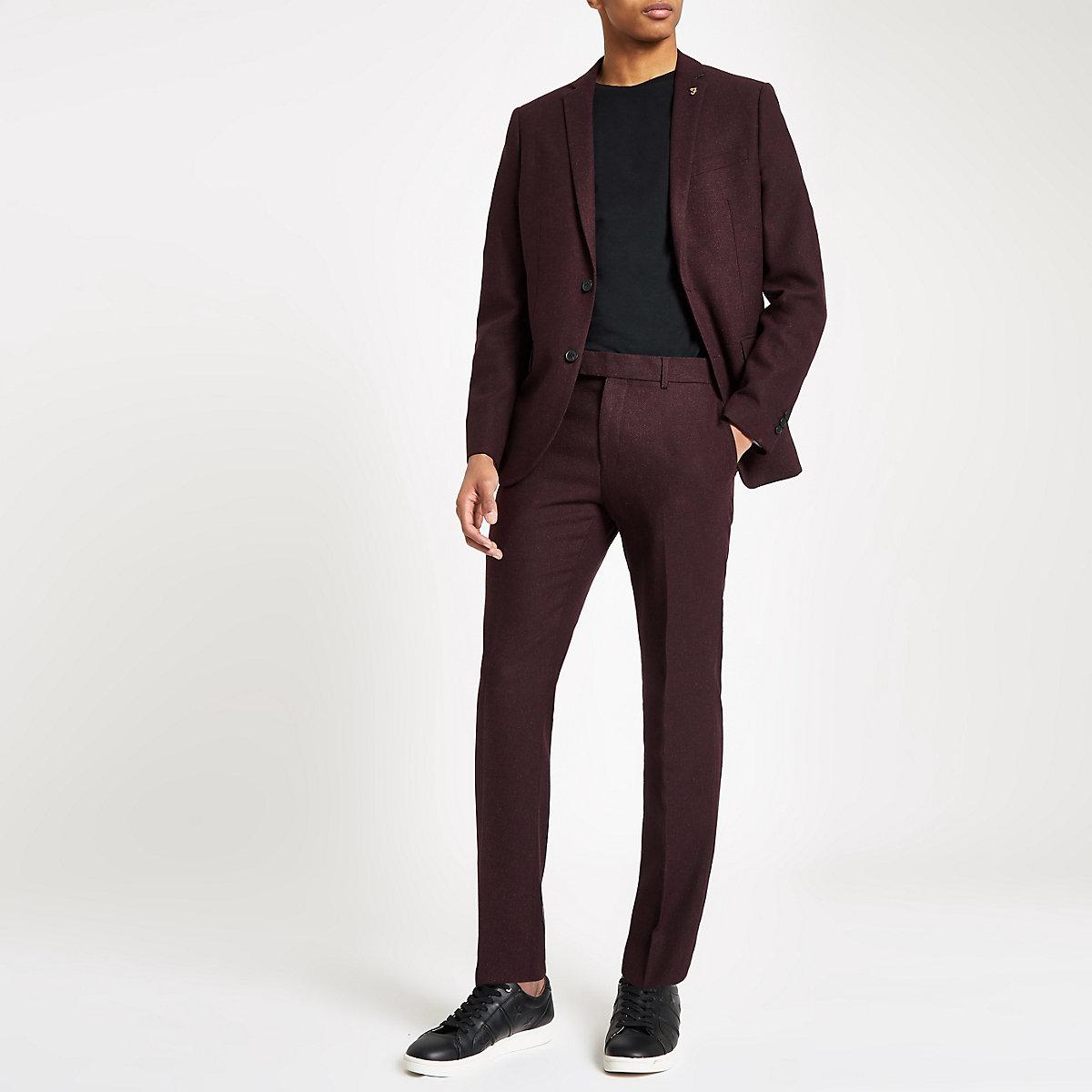 Farah burgundy skinny suit pants