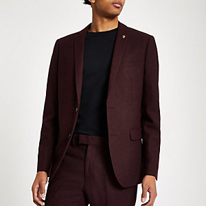 Farah burgundy hopsack suit jacket