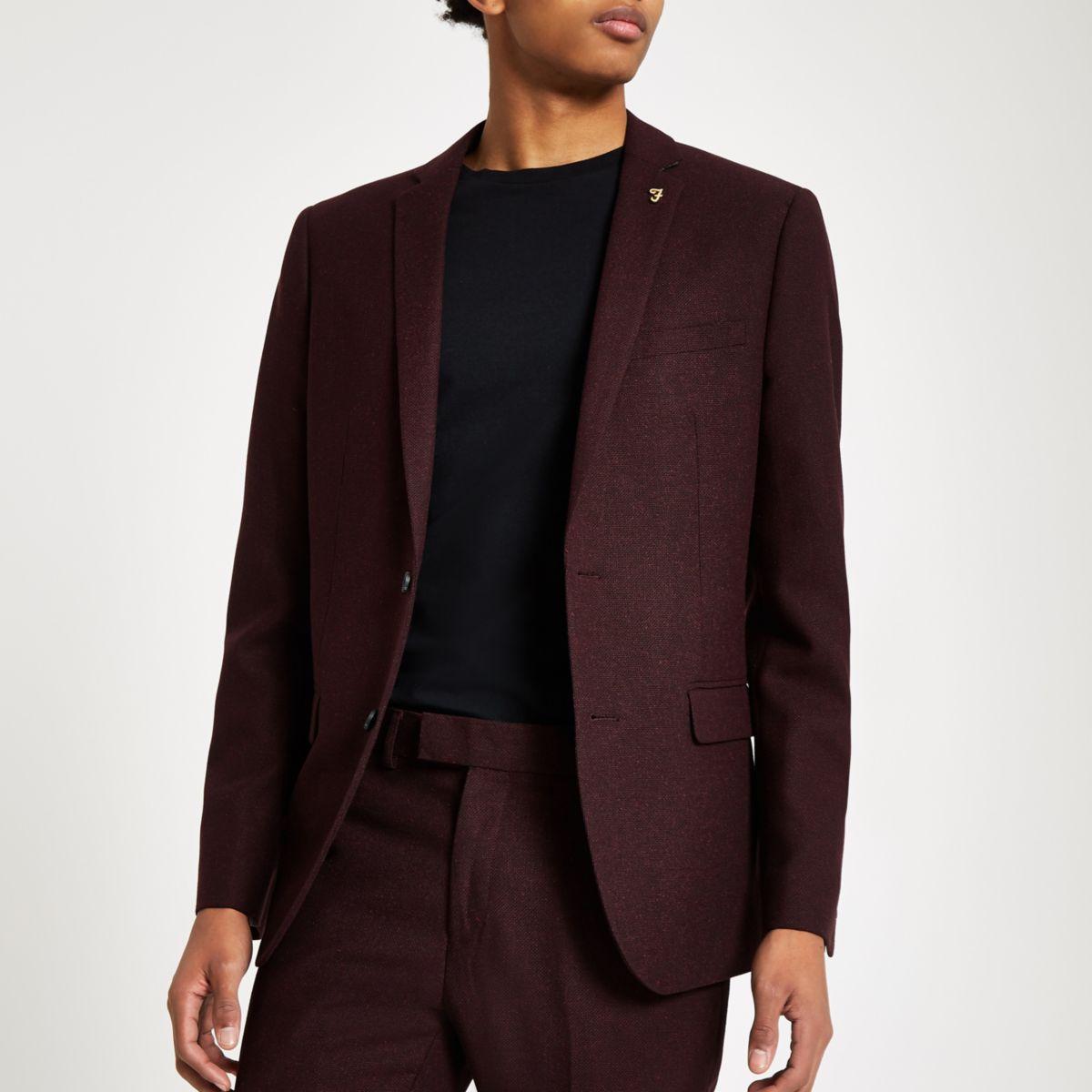 Farah burgundy hopsack suit jacket