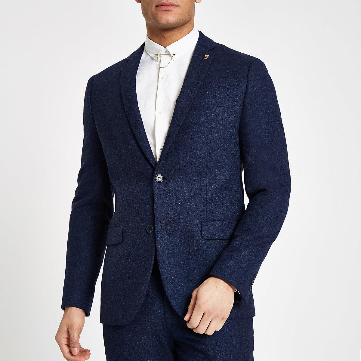 Farah blue wool blend suit jacket