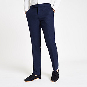 Farah - Blauwe wollen skinny pantalon
