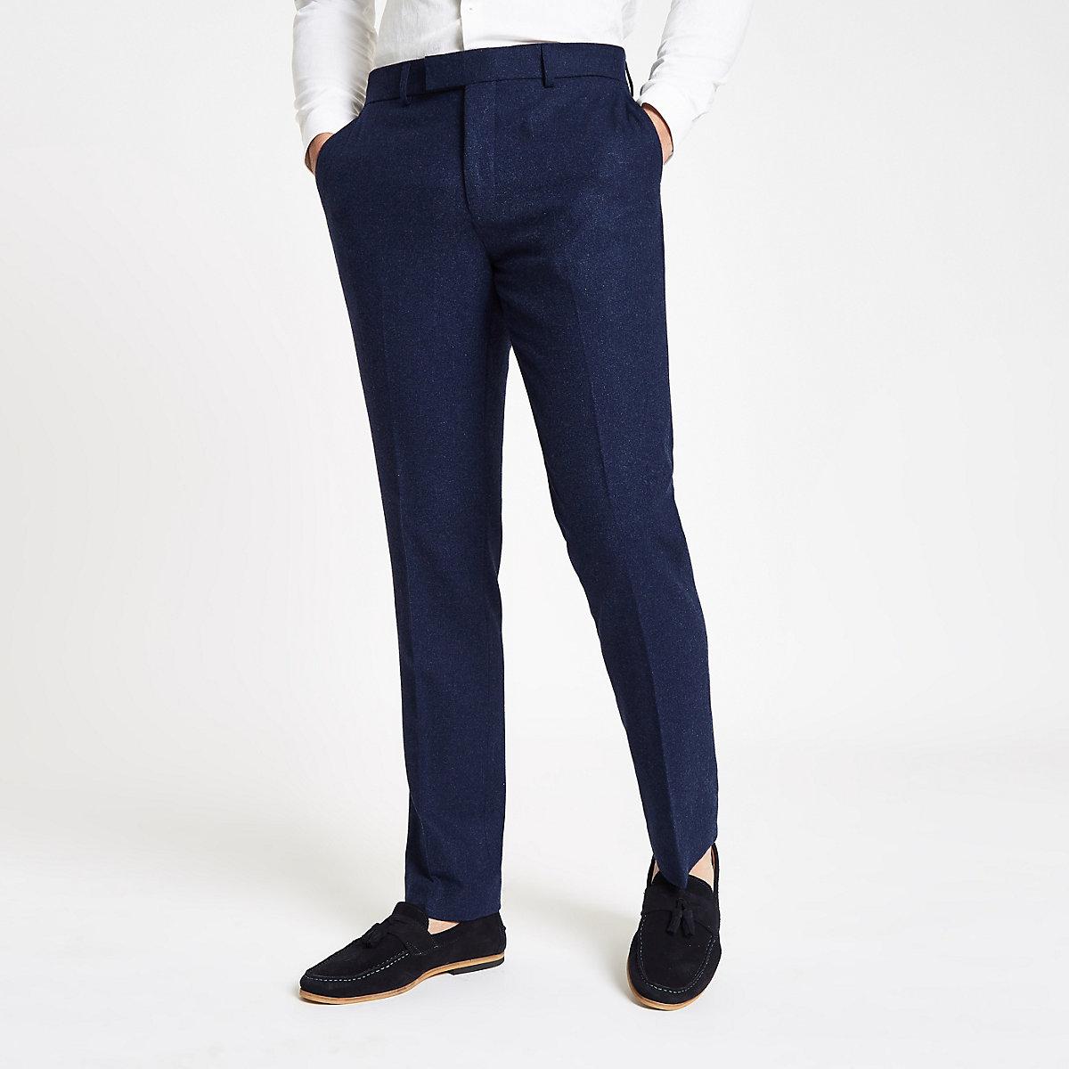 Farah blue wool skinny suit trousers