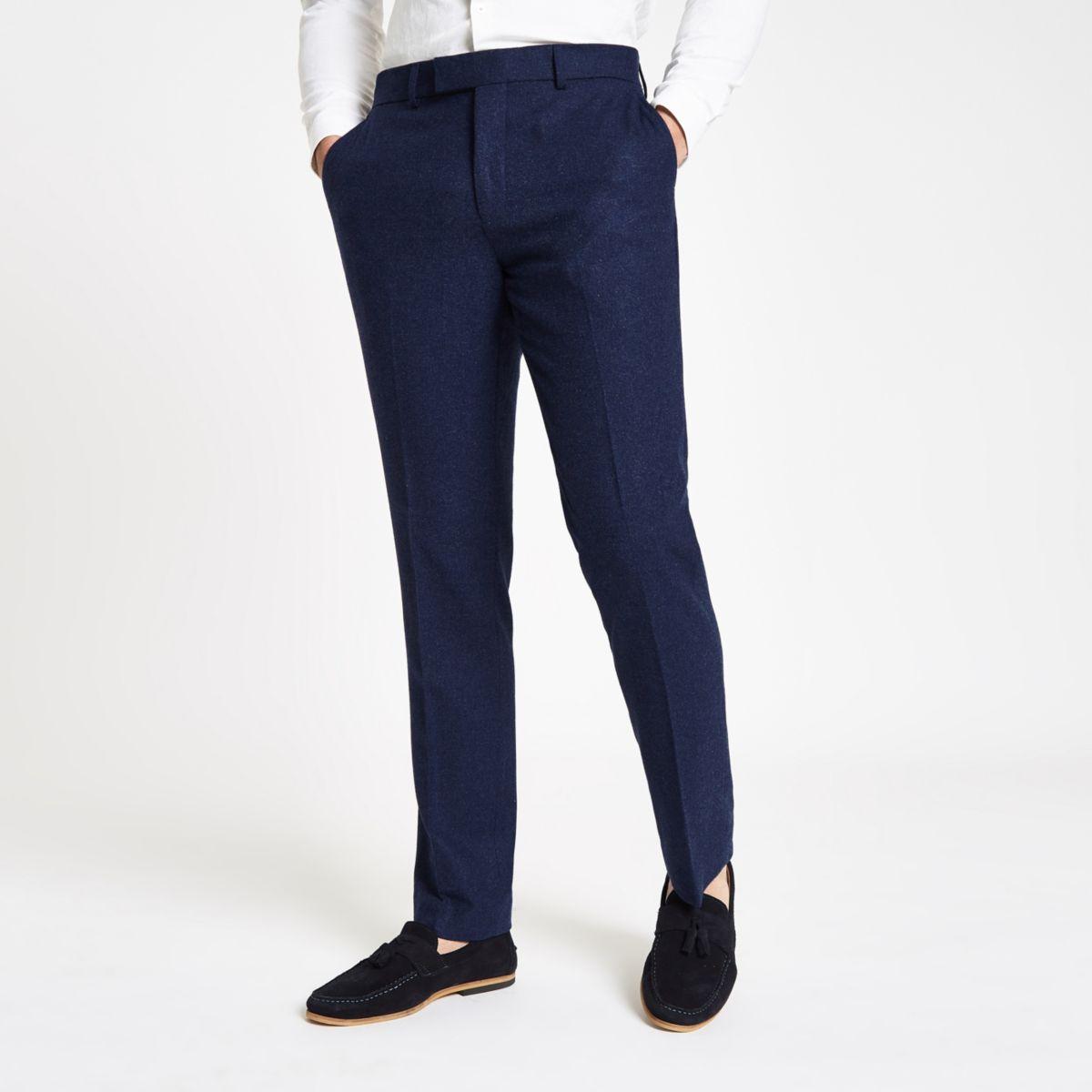 Farah blue wool suit trousers