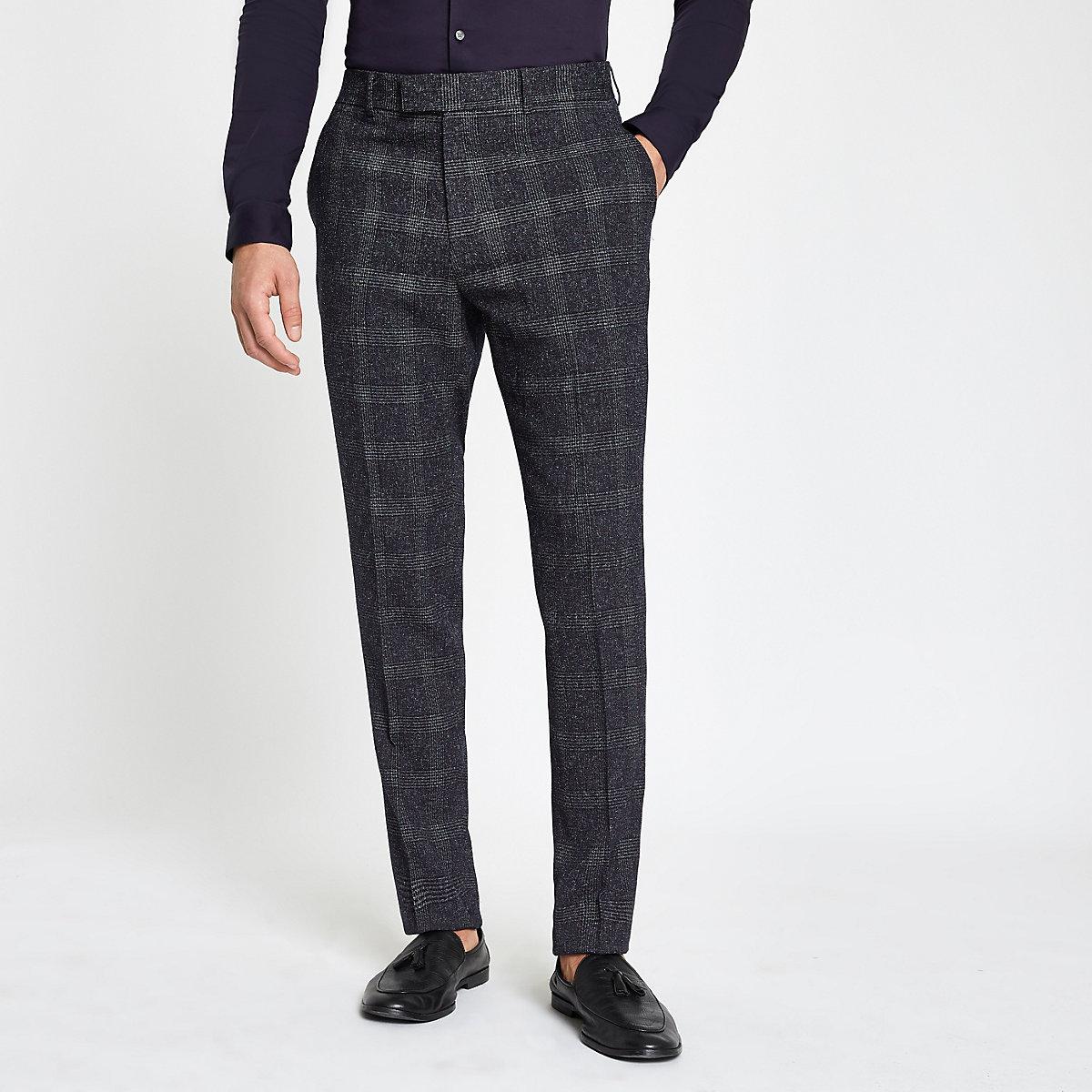 Farah blue check skinny suit pants