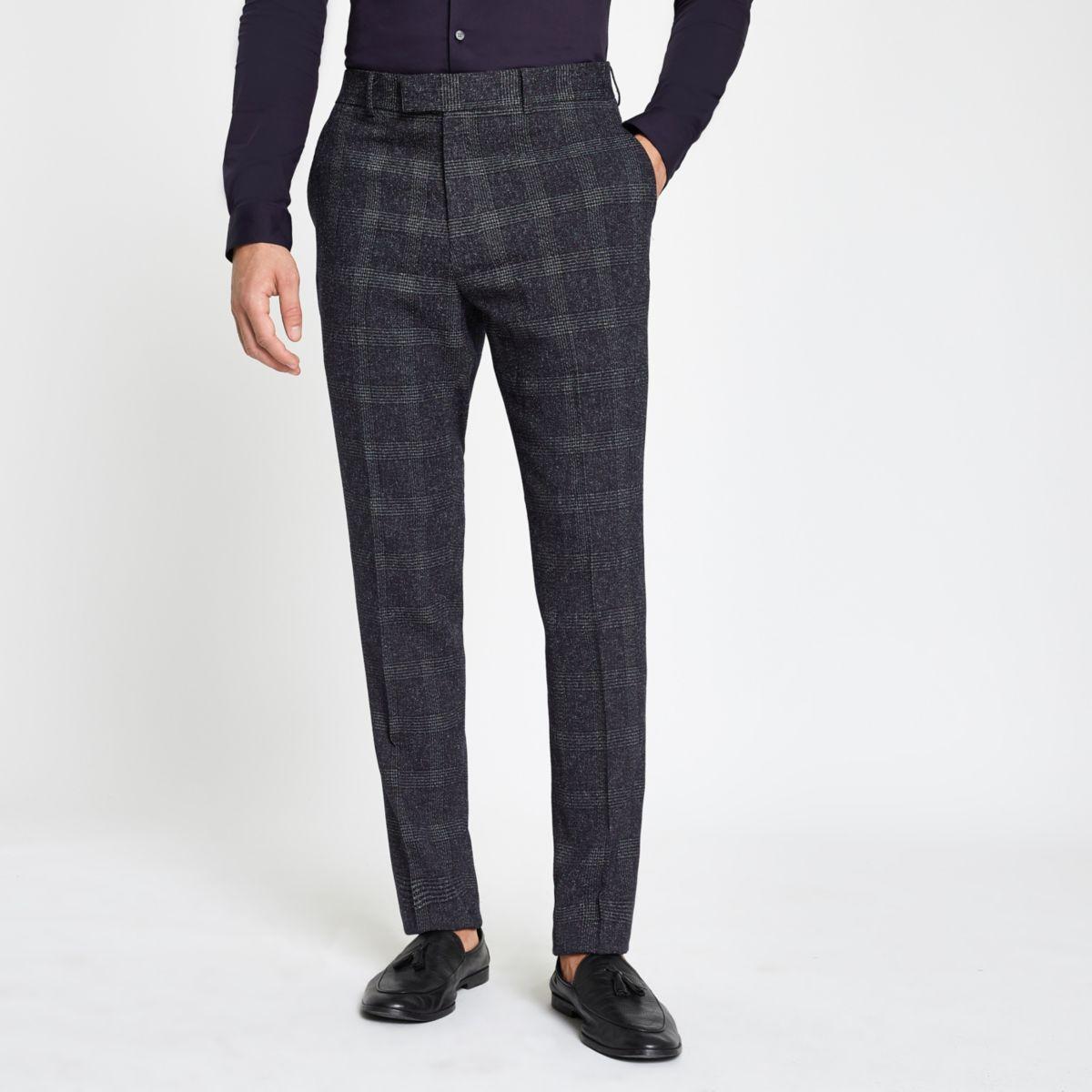 Farah blue check suit pants