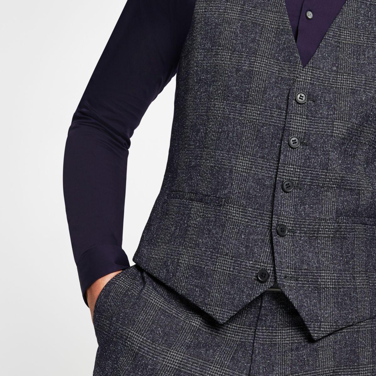 Farah blue check waistcoat