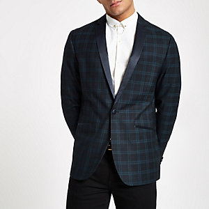 Farah navy check skinny fit blazer