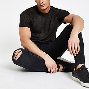 Zwart T-shirt in linnenlook met korte mouwen
