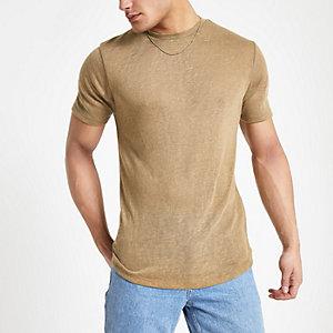 Hellbraunes T-Shirt aus Leinenmischung