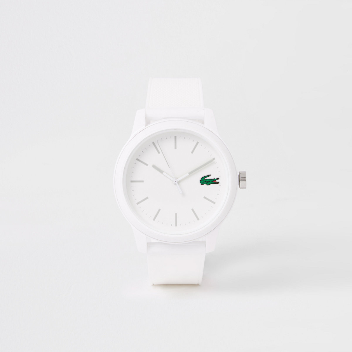 Lacoste white 12.12 silicone strap watch