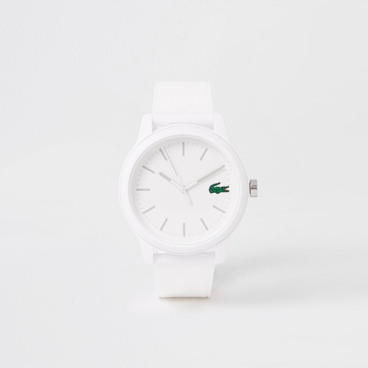 Lacoste white 12.12 silicone strap watch