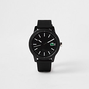 Lacoste black 12.12 silicone strap watch