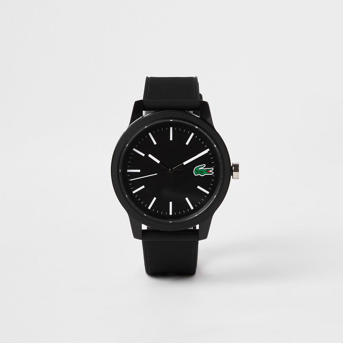 Lacoste black 12.12 silicone strap watch