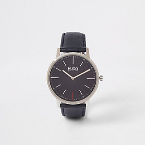 Hugo Exist blue leather strap watch