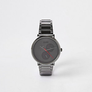 Hugo grey-plated stainless steel watch