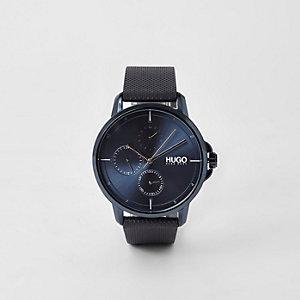 Hugo Boss – Focus – Blaue Armbanduhr mit 3 Lünetten