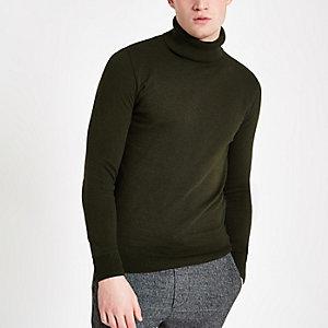 Kaki slim-fit pullover met col