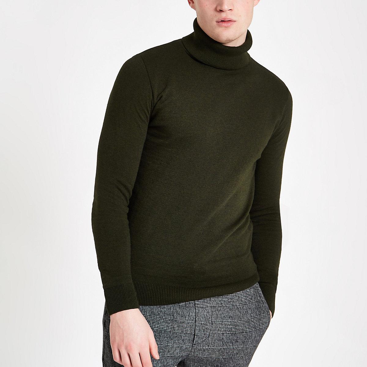 Khaki roll neck slim fit jumper