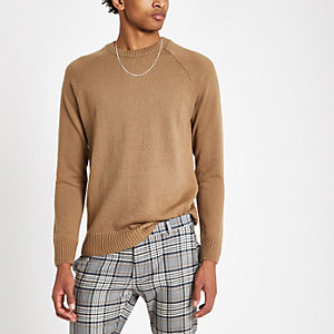 Tan slim fit soft knit sweater