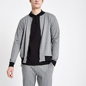 Graue Slim Fit Bomberjacke