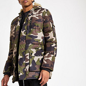 Criminal Damage green camo padded jacket