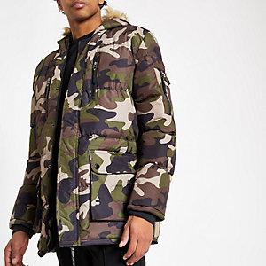 Criminal Damage - Groene gewatteerde jas met camouflageprint