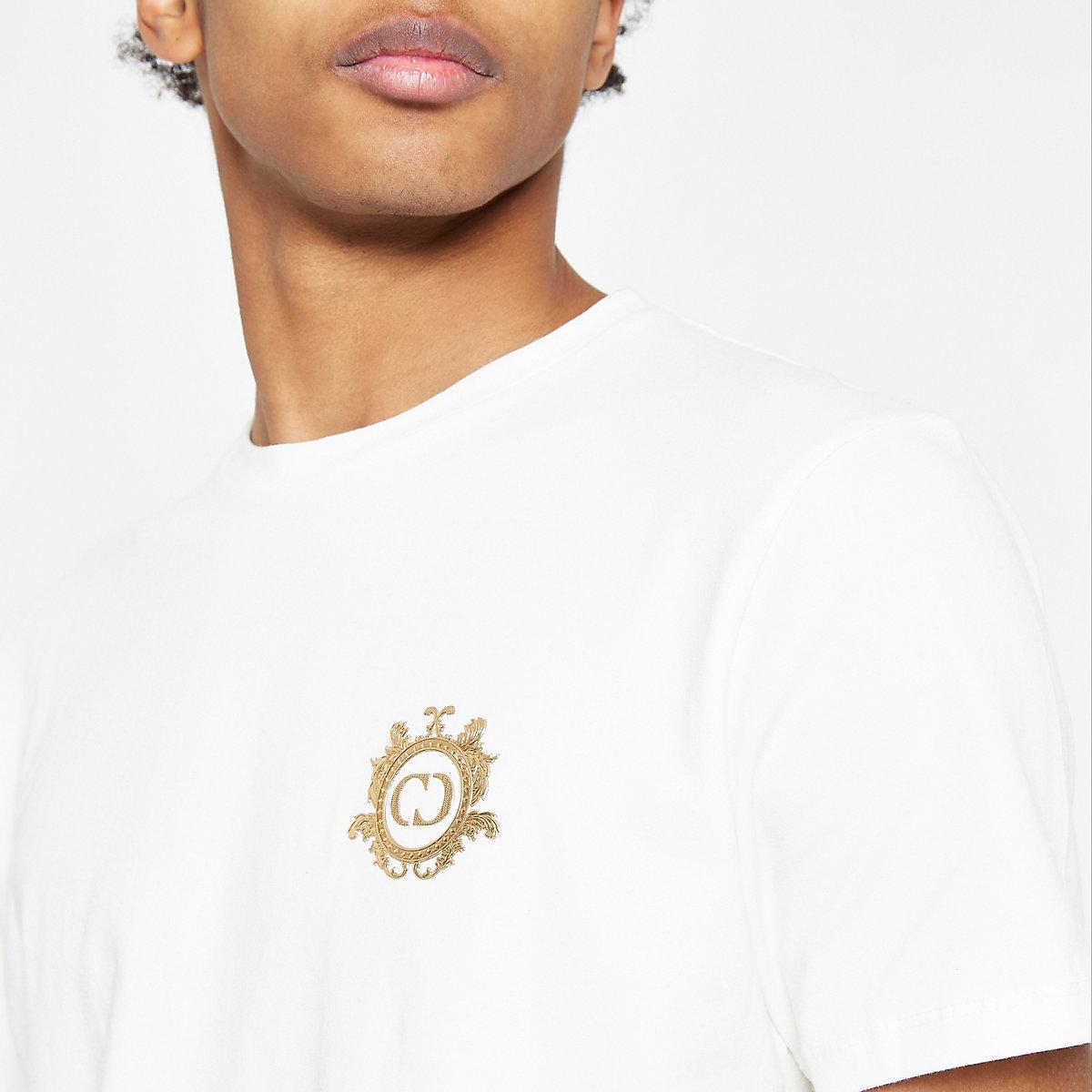Criminal Damage white logo crest T-shirt