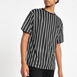Criminal Damage - Zwart T-shirt met krijtstreep