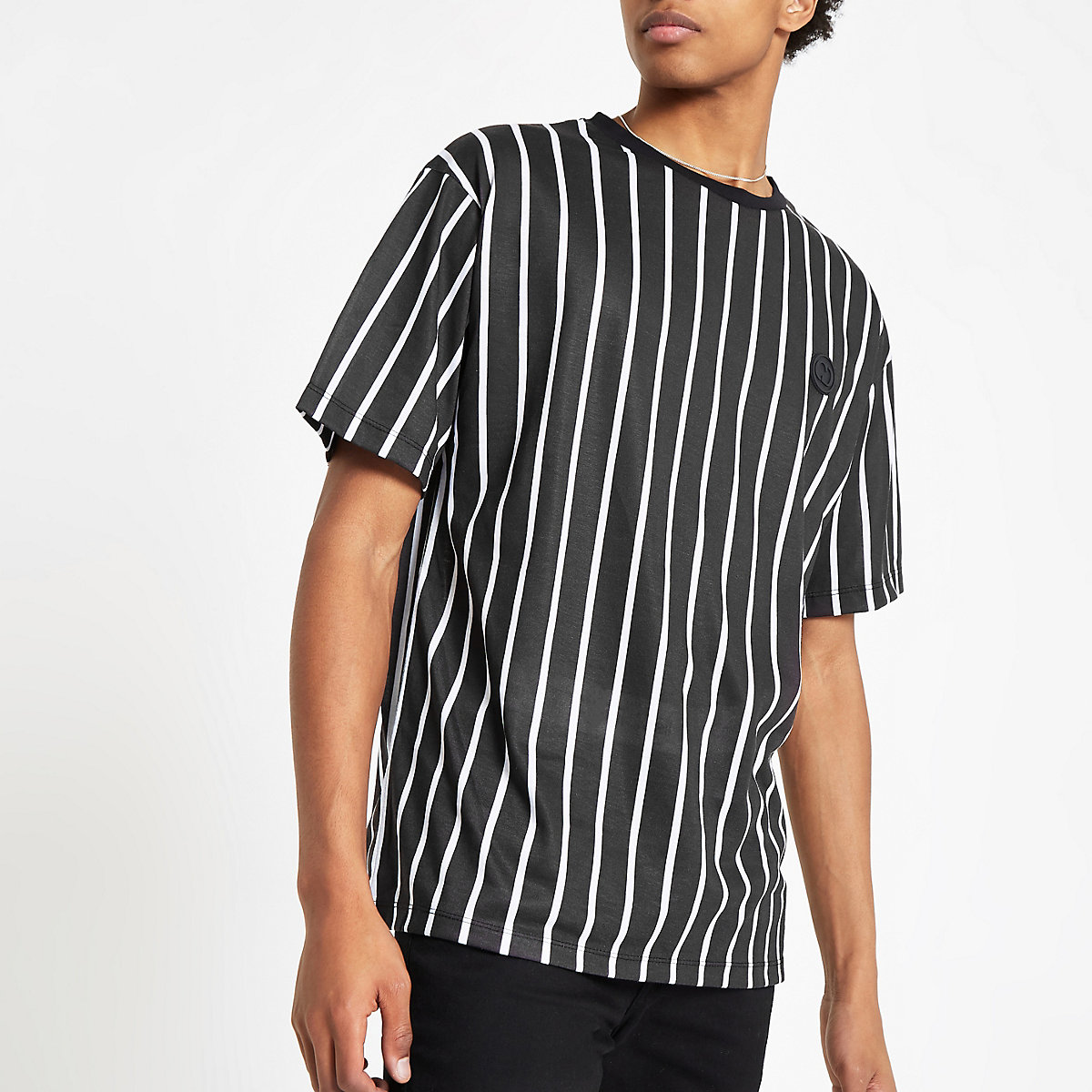 Criminal Damage black pinstripe T-shirt