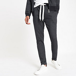 Criminal Damage navy pinstripe joggers