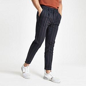 Navy slim fit stripe trousers