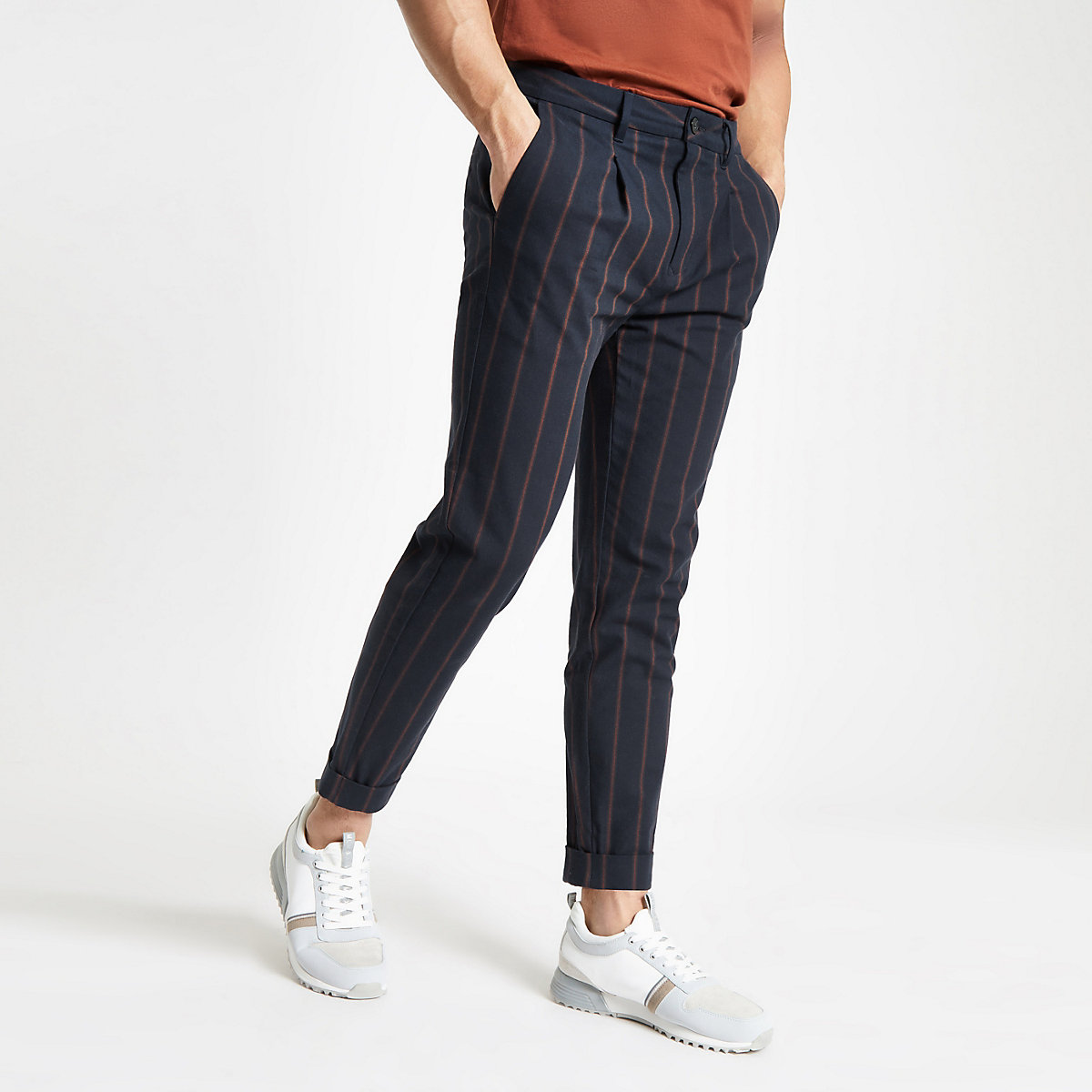 Navy stripe tapered trousers