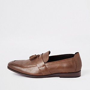 Brown tassel front loafers